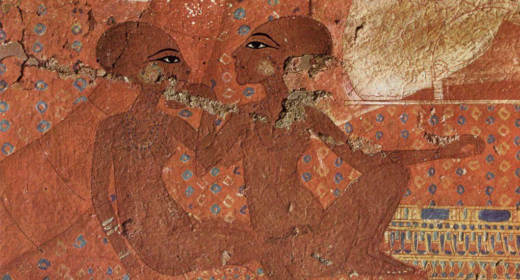 Die zwei Toechter des Echnaton - Wandmalerei aus Amarna